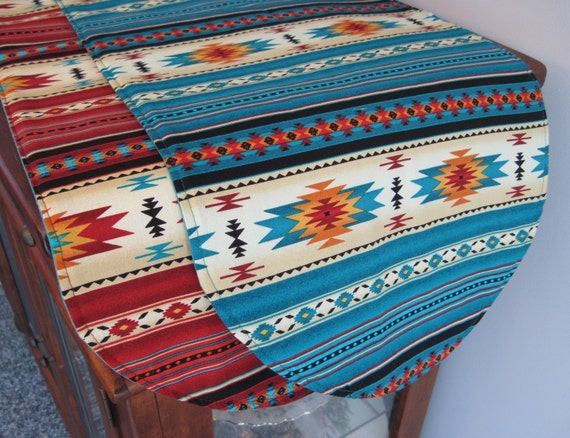 Southwestern Table Runner 36 Inch Reversible Orange Red And