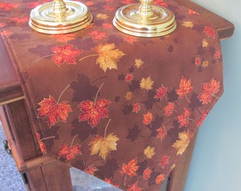 """54"""" or 72"""" Pumpkins and Autumn Leaves Table Runner Reversible Fall Table Runner Thanksgiving/Halloween Table Runner Brown Fall Table runner"""