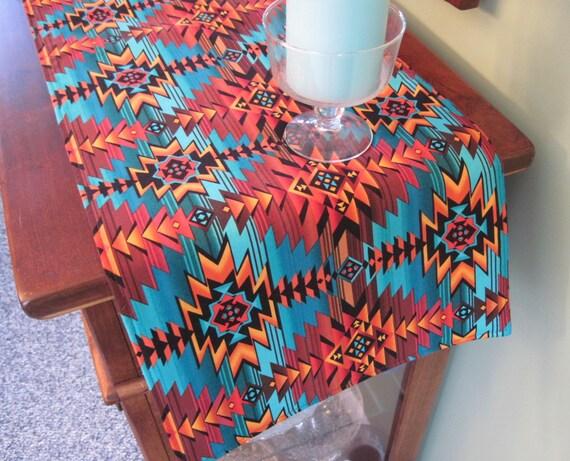 36 Southwest Table Runner Reversible Turquoise Southwestern Runner Aztec Table Runner Sedona Table Runner Southwest Blanket Print Runner