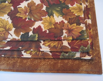 Autumn Leaves Placemats Reversible set of 4 or 6 Fall Placemats Fall  Placemats Green and Brown Placemats Thanksgiving Placemats
