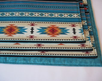 Southwestern Placemats Reversible Dark Red and Turquoise Aztec Placemats Ethnic Placemats Arizona Southwest Placemats Sedona Placemats