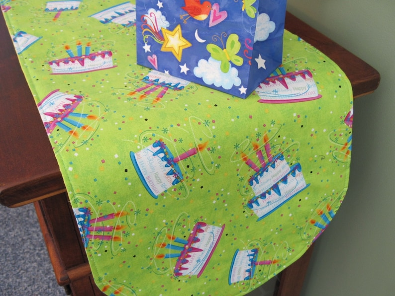 36 Birthday Party Table Runner Reversible Cake