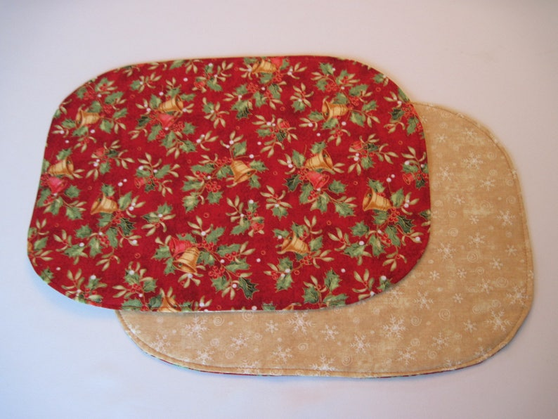 Red Bells Christmas Napkins set 4 or 6 Green Holly Cloth Napkins Green and Red Napkins Holly Napkins Christmas Napkins Christmas table decor