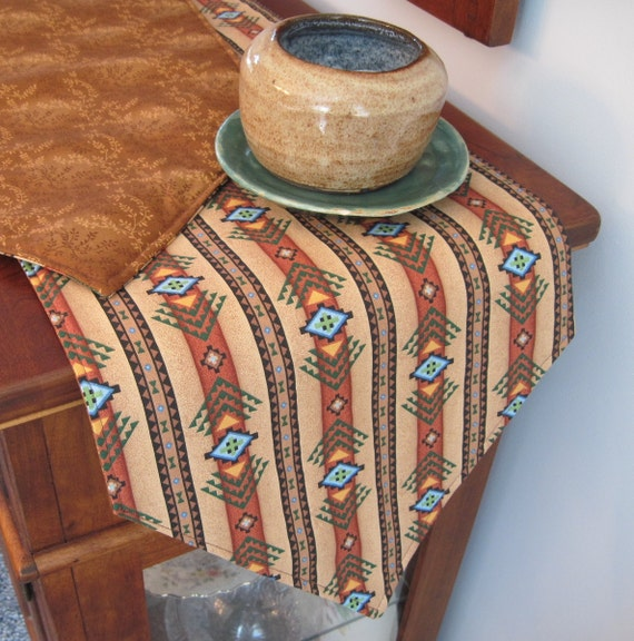 Southwestern Table Runner 54 Reversible Brown And Turquoise Table Runner Aztec Table Runner Sedona Table Runner Southwest Table Decor