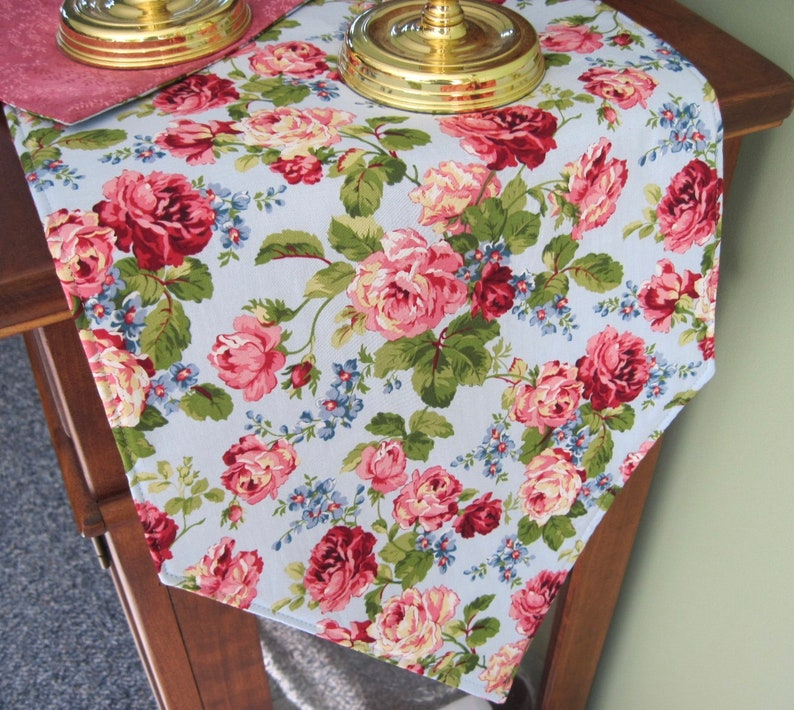 54 Pink Rose Table Runner Reversible Pale Blue Table Etsy