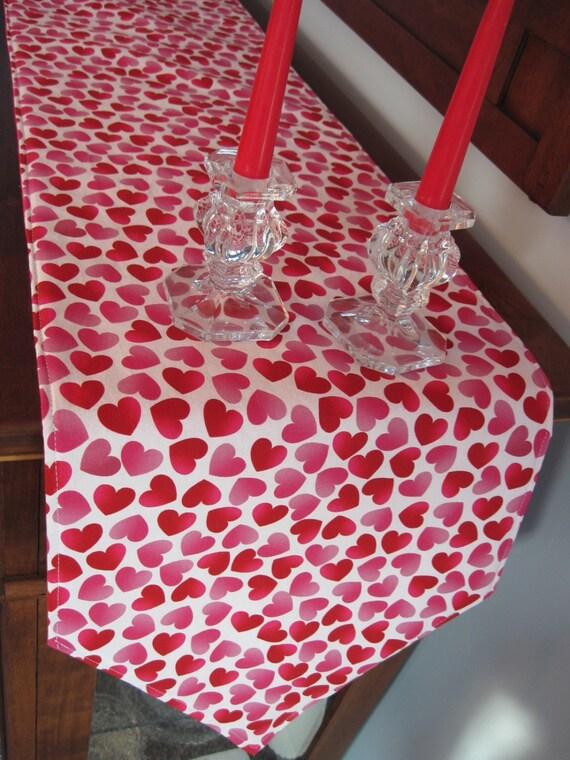 72 Valentines Day Heart Table Runner Reversible Etsy