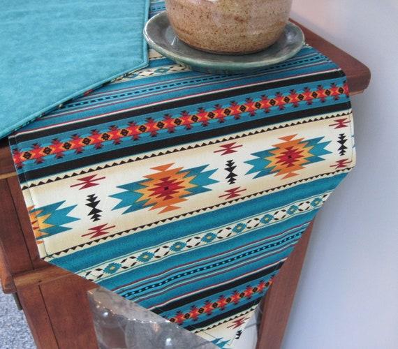 Custom Southwestern Table Runner 60 72 Reversible Turquoise Southwest Table Runner Aztec Table Runner Sedona Table Runner