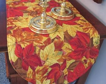 """Changing Fall Leaves Table Runner 36"""" Golden Yellow and Red Leaves Fall Table Runner Thanksgiving Table Runner"""