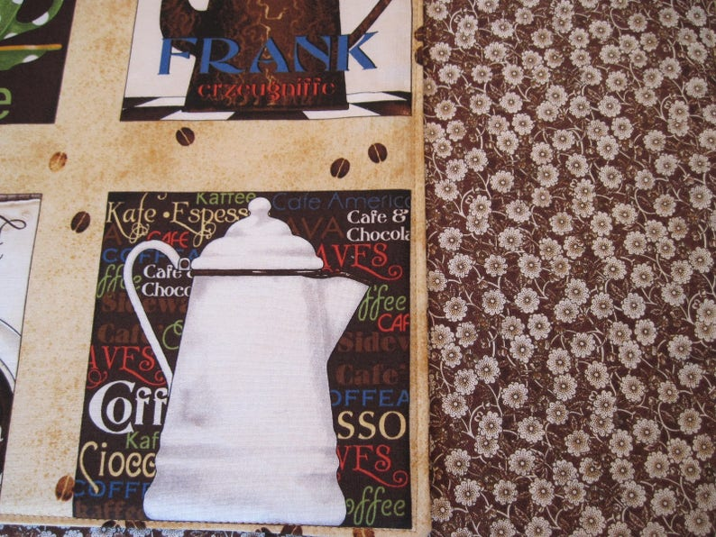 Coffee Placemats  4 or 6 Coffee Reversible Placemats Brown Placemats Retro Brown White table decor Coffee Kitchen Decor Coffee Lovers Gift