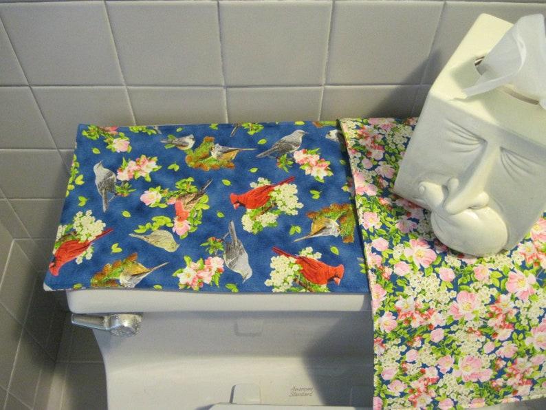 Cardinal poinsettia decor MINI table runner Toilet Tank Topper bathroom bird