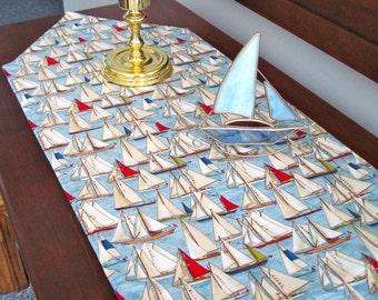 Sailboat Table Runner 72 inch Reversible Red White Blue Table Runner Summer Table Runner Nautical Table Runner Beach House Table Decor