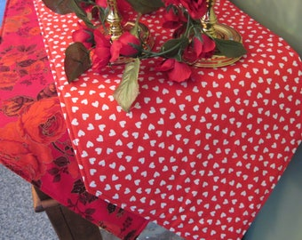 "54"" -72"" Heart and Red Roses Table Runner Reversible Valentines Day Table Runner Red Hearts Table Runner Valentines Day Table Decor Red Rose"