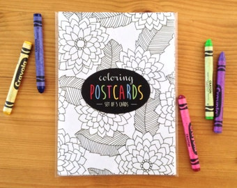 COLORING POSTCARDS (floral)