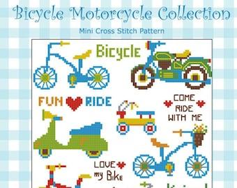 Bicycle Motorcycle Cross Stitch Pattern PDF chart