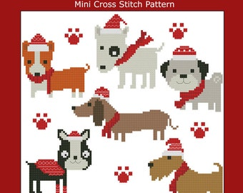 Christmas Pooches Dogs Collection Cross Stitch PDF Chart