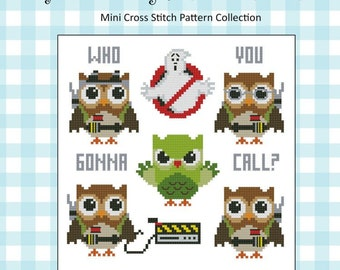Hooties Ghost Busters Owls  Mini Collection Cross Stitch PDF Chart