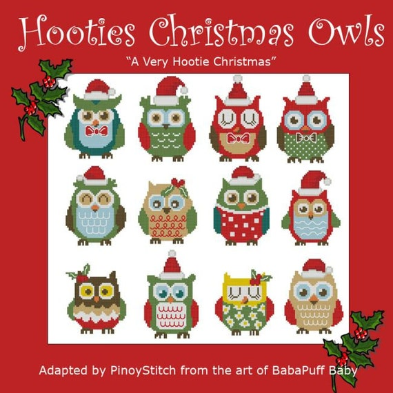 Hooties Christmas Celebration Owls  Mini Collection Cross Stitch PDF Chart