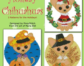 Holiday Chihuahuas Dog Puppy Set of 3 Easy Cross Stitch Pattern PDF