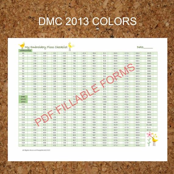 Editable Dmc Floss Checklist Form Pdf Instant Download Dmc Etsy