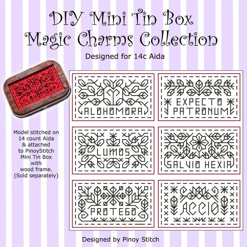 DIY Mini Tin Box Blackwork 14c Aida Magic Charms Collection image 0