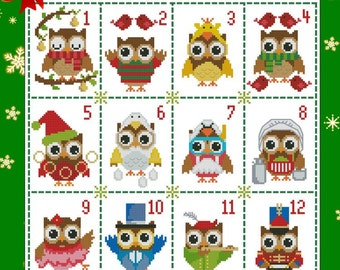Hooties 12 Days of Christmas Collection Cross Stitch PDF Chart