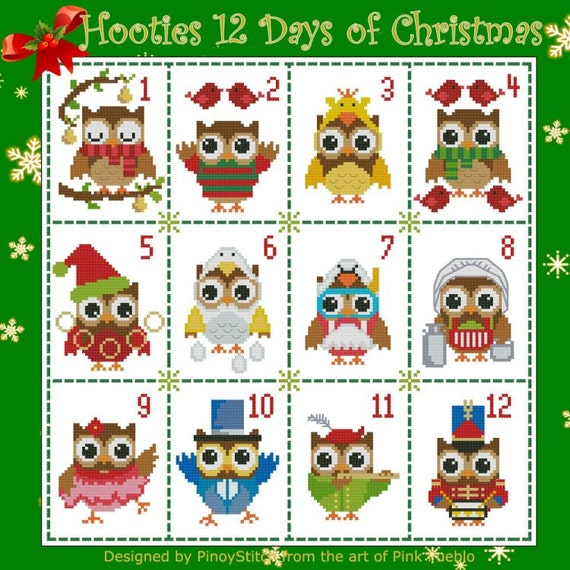 12 Days Of Christmas Cross Stitch.Hooties 12 Days Of Christmas Collection Cross Stitch Pdf Chart