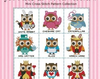 Hooties in Wonderland Owls  Mini Collection Cross Stitch PDF Chart