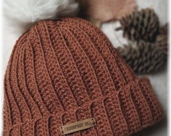 565e2331598 Ribbed Beanie toque with faux fur pom pom. Rusty fall color. Cozy below  zero warmth. Ready to ship. USA and Canada