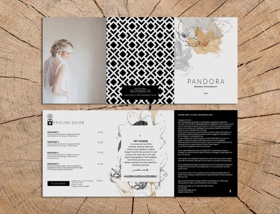 pandora photography trifold brochure design instant download etsy