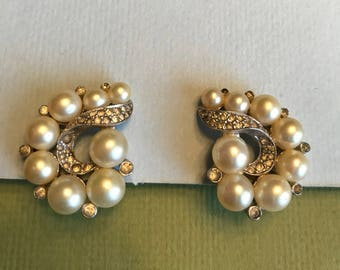JOMAZ Faux Pearl and Rhinestone Clip Earrings