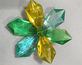 Huge Faceted Plastic Flower Brooch West Germany Yellow Blue Green
