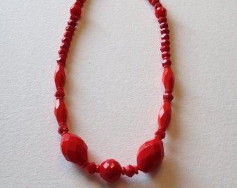"""Red Czech Glass Bead Choker 17"""""""