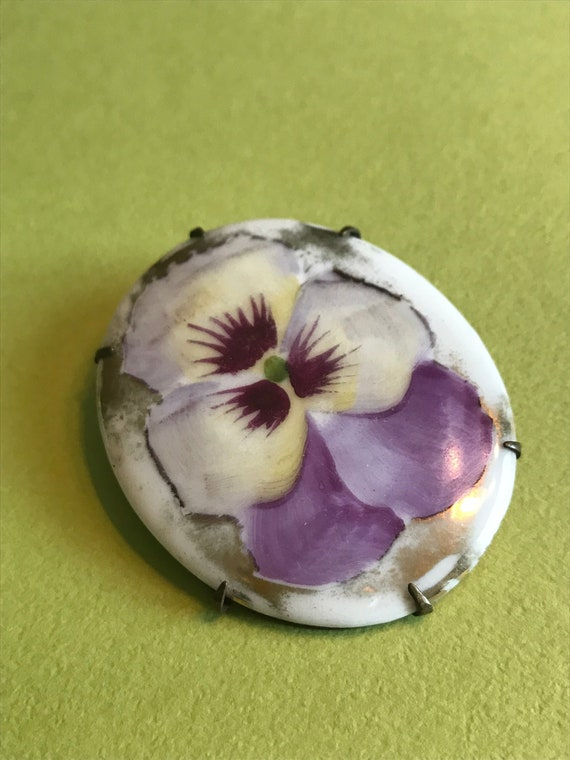 Oval Porcelain Pansy Brooch Purple Yellow