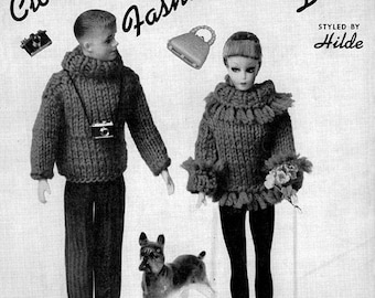 PDF Clothes for Fashion Model Dolls Such as Vintage Barbie & Ken - Knitting
