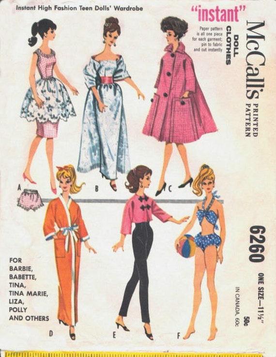 "fits Barbie Teen Doll 60/'s 11 1//2/"" Doll Pattern Wardrobe 1960/'s 207"