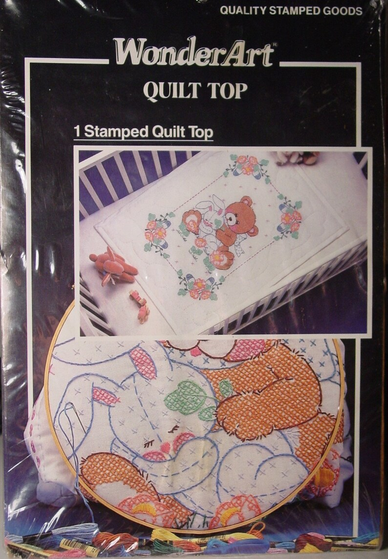27 x 36 Bear /& Bunnyby WonderArt 9235 NO THREAD INCLUDED Pre Stamped Crib Quilt Top