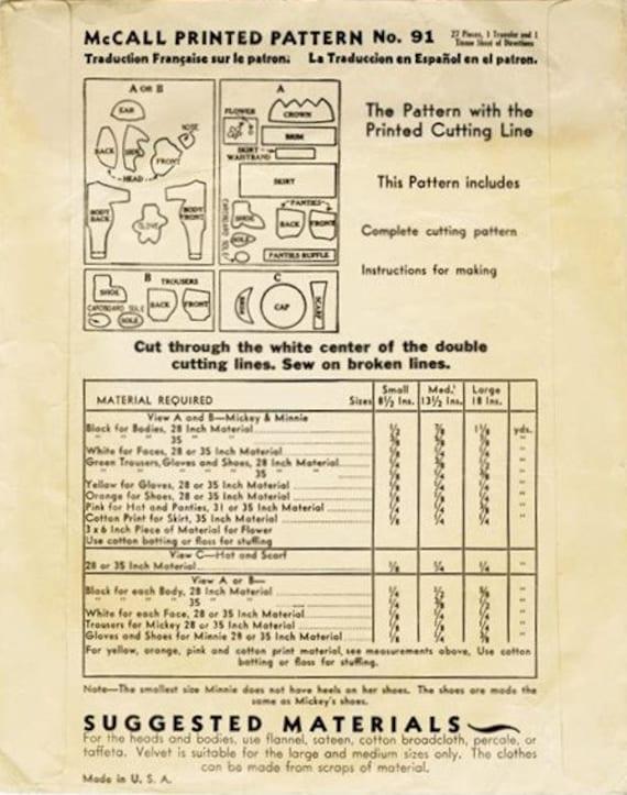 PDF Very Vintage Mickey & Minnie Mouse Pattern | Etsy