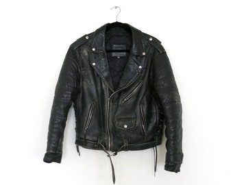 Motorcycle Jacket / Men's Black Leather Motorcycle Jacket / 40