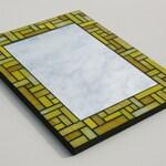 "Sunshine Yellow Stained Glass Mosaic Mirror with Bullseye and Uroboros Glass 11.75"" x 15.75"""