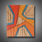 """5.5"""" x 7"""" - """"Triple Crush"""" - Original Abstract Art on Red Oak - Modern Design Colored with Prismacolor Pencil - Shades of Orange, Turquoise"""