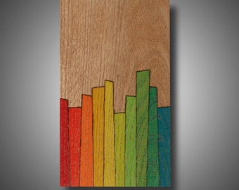 """Wood burned Art, Original, Abstract, Unique Art on Wood Colored with Prismacolor Pencil """"Complex World"""""""