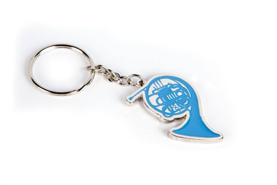 Blue French Horn Keychain in Custom Gift Box inspired by Ted and Robin's endless love on How I Met Your Mother. Perfect Romantic Gift