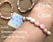 PINK OPAL BRACELET peruvian amulet love emotional healing heart nurturing yoga festival shaman pagan seed potato beads fair trade