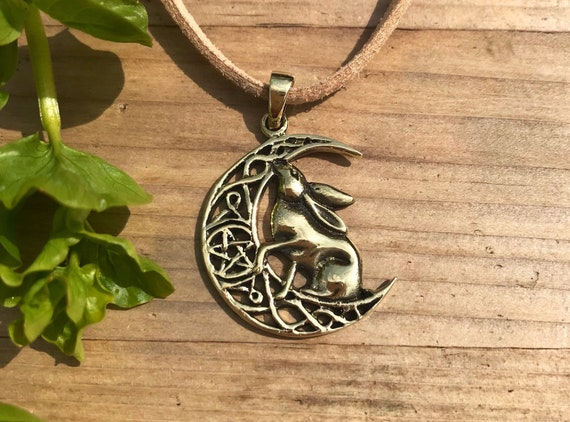 """Wiccan Pagan Hare Rabbit Animal Totem Amulet Pendant 20/"""" Chain Necklace"""