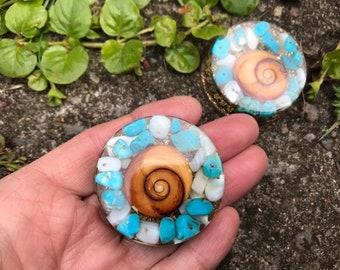 SHIVA EYE PROTECTION  pocket prana chi generator turquoise aventurine clear quartz sacred talisman amulet