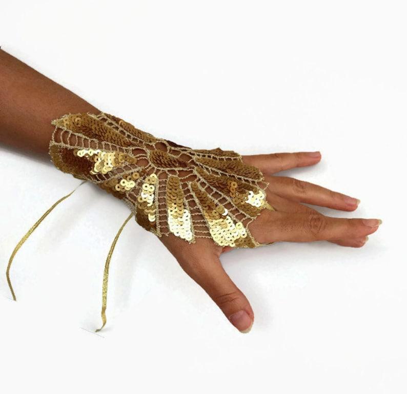 Gold sequin wrist cuff Lace cuff bracelet Fingerless glove image 0