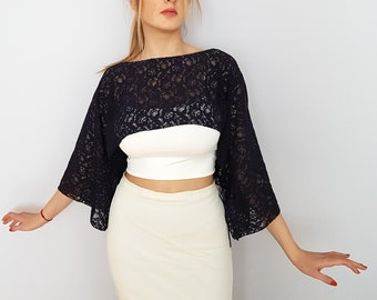 Navy blue lace shrug, Long sleeved bolero, Mother of the bride evening dress cover up, Women clothing shoulder top wrap, Wedding shawl