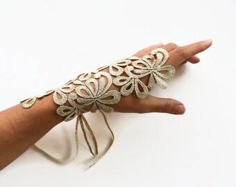 Gold Lace Wrist Cuff Charm, Bridal Fingerless Glove Gold Guipure Lace, Modern Spring Wedding
