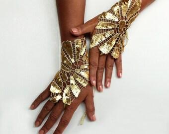 Gold fingerless bridal gloves, Sequin bridal wrist cuffs, Art deco wedding, Opera gloves, Hand corsage, Grecian Bride Evening fashion dress