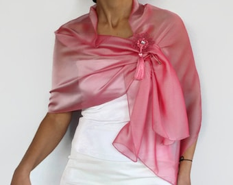 Pink shoulder stole wrap, Iridescent pink silk chiffon long scarf Evening dress cover up, Handmade tatting lace pin Mother of the bride cape